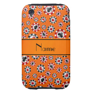 Personalized name orange poker chips tough iPhone 3 covers