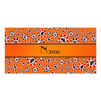 Personalized name orange poker chips picture card