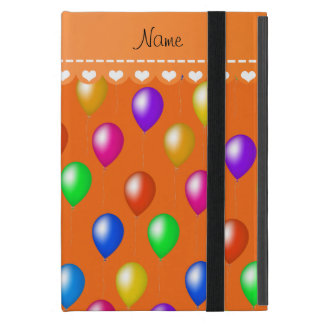 Personalized name orange rainbow birthday balloons iPad mini case