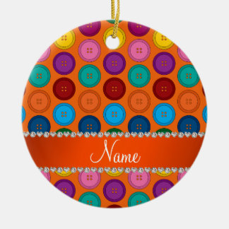 Personalized name orange rainbow buttons pattern round ceramic ornament