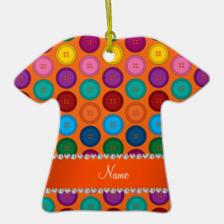 Personalized name orange rainbow buttons pattern ceramic T-Shirt ornament