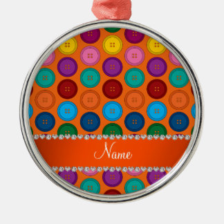 Personalized name orange rainbow buttons pattern Silver-Colored round ornament
