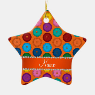 Personalized name orange rainbow buttons pattern ceramic star ornament