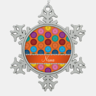Personalized name orange rainbow buttons pattern pewter snowflake ornament