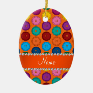 Personalized name orange rainbow buttons pattern ceramic oval ornament
