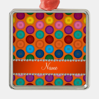 Personalized name orange rainbow buttons pattern Silver-Colored square ornament