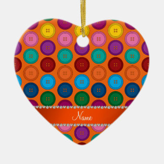 Personalized name orange rainbow buttons pattern ceramic heart ornament