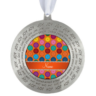 Personalized name orange rainbow buttons pattern round pewter ornament