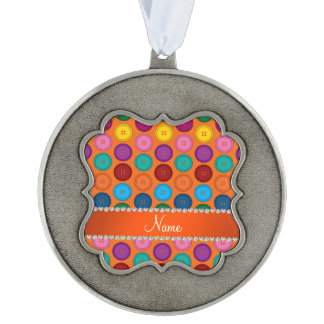 Personalized name orange rainbow buttons pattern scalloped pewter ornament