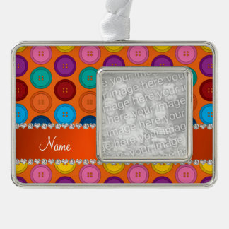 Personalized name orange rainbow buttons pattern silver plated framed ornament
