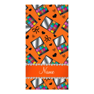 Personalized name orange rainbow eyeshadow picture card