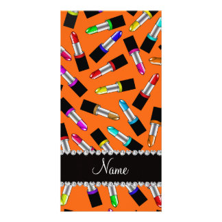 Personalized name orange rainbow lipstick photo greeting card