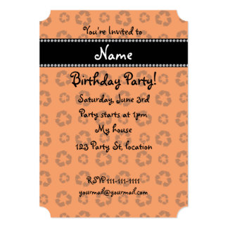 """Personalized name orange recycling pattern 5"""" x 7"""" invitation card"""