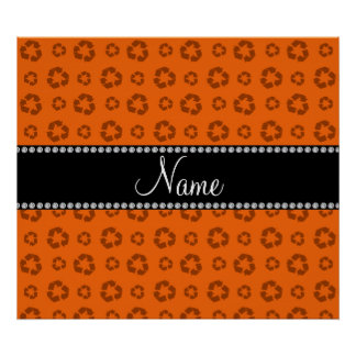 Personalized name orange recycling pattern posters