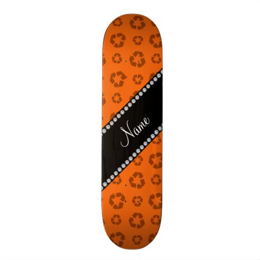 Personalized name orange recycling pattern skate deck