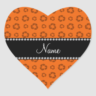 Personalized name orange recycling pattern stickers