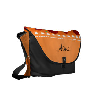 Personalized name orange red tomatoes messenger bag