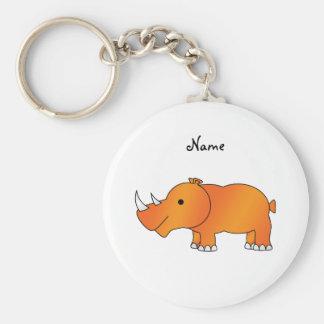 Personalized name orange rhino basic round button key ring