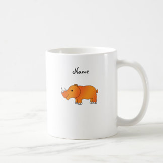 Personalized name orange rhino coffee mug