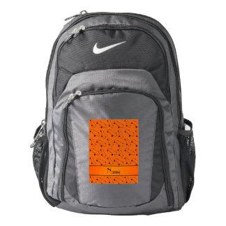 Personalized name orange skateboard pattern backpack