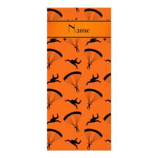 Personalized name orange skydiving pattern customised rack card