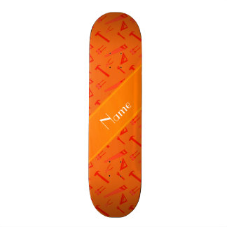 Personalized name orange tools pattern custom skate board