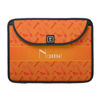 Personalized name orange tools pattern sleeves for MacBooks