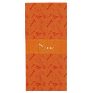 Personalized name orange tools pattern wood USB 2.0 flash drive