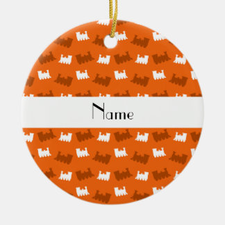 Personalized name orange train pattern ceramic ornament