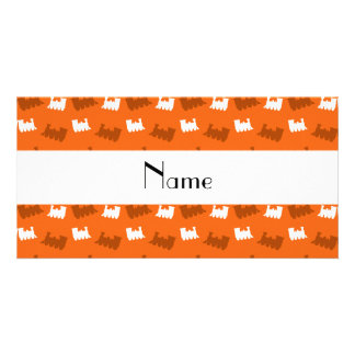 Personalized name orange train pattern personalised photo card