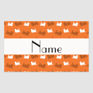 Personalized name orange train pattern stickers