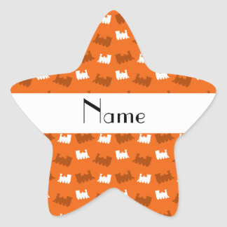 Personalized name orange train pattern star sticker