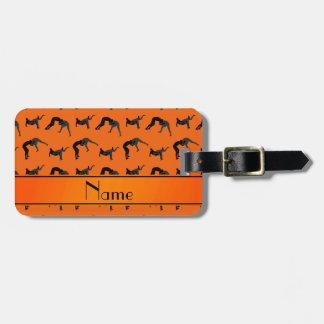 Personalized name orange wrestling silhouettes luggage tag