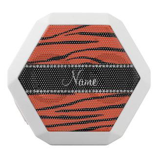 Personalized name orange zebra stripes white boombot rex bluetooth speaker