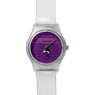 Personalized name orca whale purple chevrons wristwatches