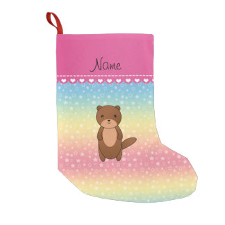 Personalized name otter rainbow stars