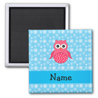 Personalized name owl blue snowflakes magnets