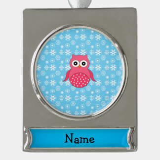 Personalized name owl blue snowflakes silver plated banner ornament