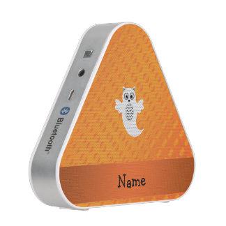 Personalized name owl ghost orange polka dots bluetooth speaker