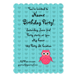 Personalized name owl turquoise hearts dots 13 cm x 18 cm invitation card