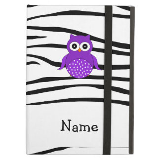 Personalized name owl zebra stripes case for iPad air
