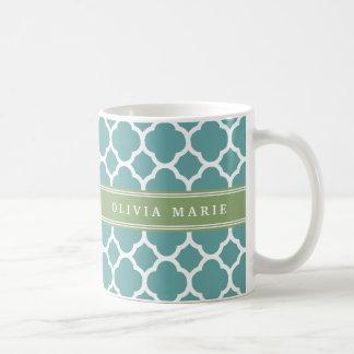 Personalized Name Pale Blue Quatrefoil Pattern Basic White Mug