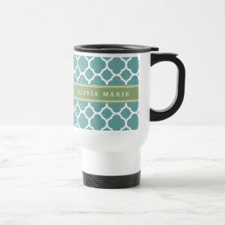 Personalized Name Pale Blue Quatrefoil Pattern Coffee Mugs
