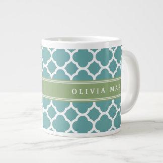 Personalized Name Pale Blue Quatrefoil Pattern Extra Large Mugs