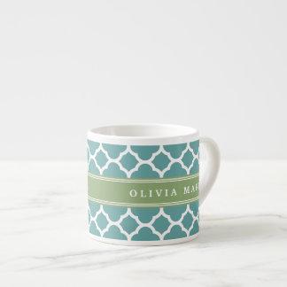 Personalized Name Pale Blue Quatrefoil Pattern Espresso Cup