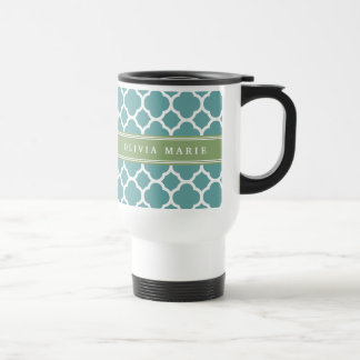 Personalized Name Pale Blue Quatrefoil Pattern Stainless Steel Travel Mug