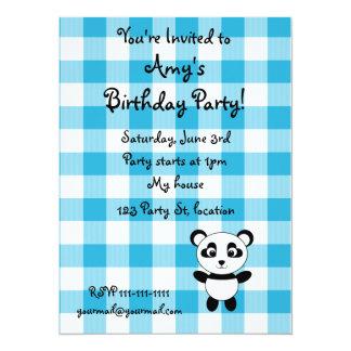 Personalized name panda blue picnic checkers announcement