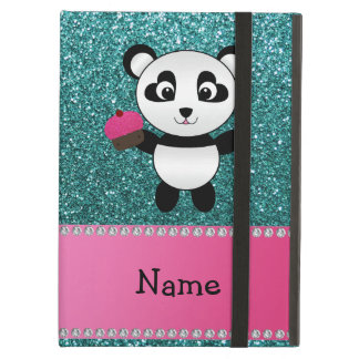 Personalized name panda cupcake turquoise glitter cover for iPad air