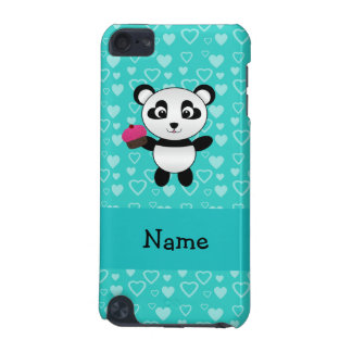 Personalized name panda cupcake turquoise hearts iPod touch (5th generation) cover
