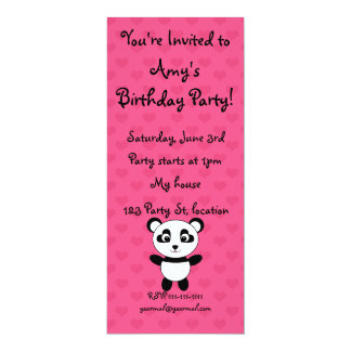 Personalized name panda pink hearts 10 cm x 24 cm invitation card